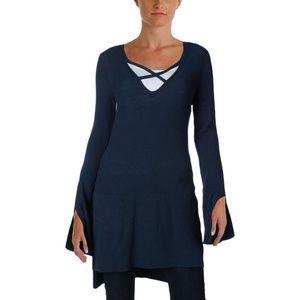 Free People Sweaters - Free People Criss Cross Blue Split Tunic Sweater